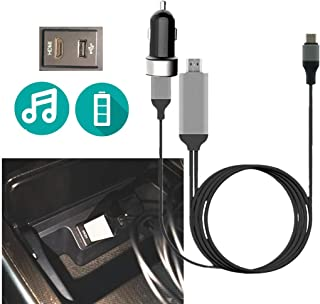 HDMI Type C Car Audio Adapter Cable with Charg-er, Compatible Android Galaxy S20 S10 Note 10 Moto LG Mac Google Pixel Type...