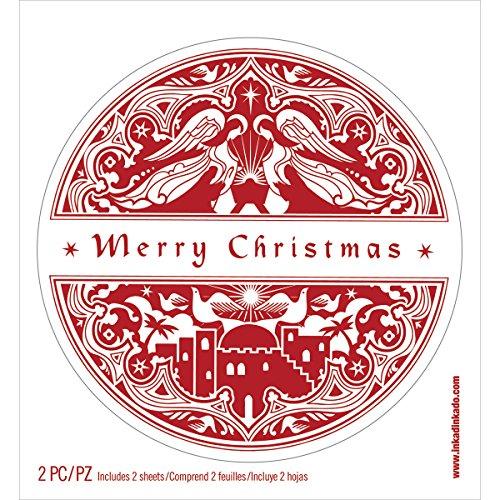 Inkadinkado Sticker Mural Petit 15 cm x 6.5-inch-Merry, Noël, d'autres, Multicolore