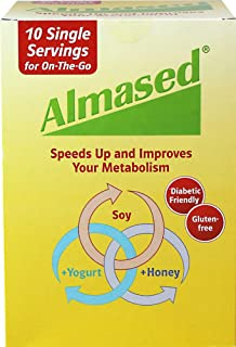 Almased Low-Glycemic High Protein Powder Shake Meal Replacement for Weight Management Non-GMO Plant-Based Protein, Gluten Free, Low Carbs, No Stimulants,10 Single Servings, 17.6 oz