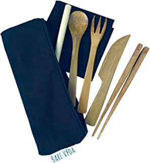 Bamboo Utensil Set with Straw, Napkin & Carry Case by Bare Vida Knife, Fork