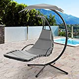 Vongrasig Outdoor Hanging Hammock Chaise Lounge, Freestanding Cushioned Curved Hammock Swing Chair w/Arc Stand Built-in Pillow & Canopy Floating Chaise Swing Chair for Garden Backyard (Gray)
