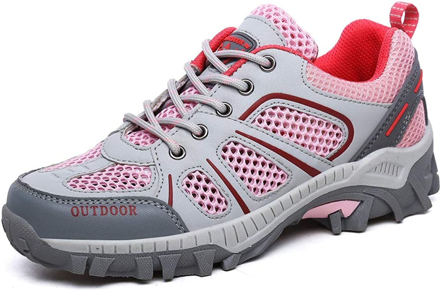 SELCNG Hiking shoes Outdoor mesh Non-Slip wear-Resistant Breathable Cross-Country Walking shoes-Pink-36