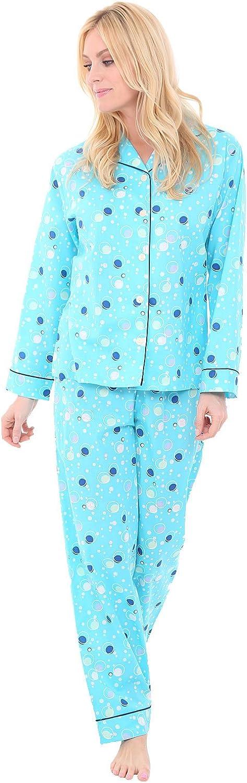 Del Rossa Women's Cotton Pajama Set, Long Woven Pjs