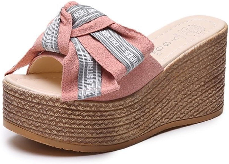 Women's shoes PU Summer Wedge Heel Comfort Slippers & Flip-Flops Bowknot for Green, Black, Pink