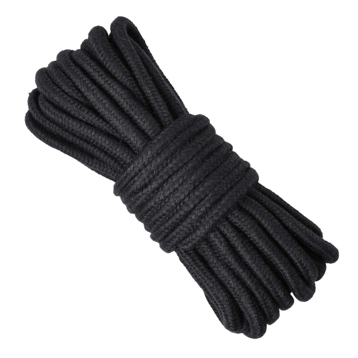Black Soft Twisted Nylon Rope 32 Feet Durable Long Cotton Rope,8mm Diameter Twine Strong Braided Cord Rope