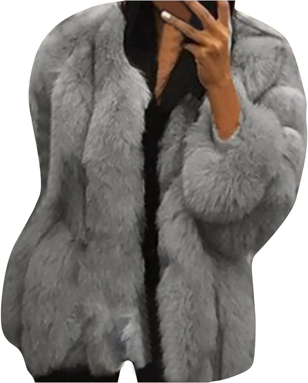 Shusuen Women's Faux Fur Cardigans Fashion Winter Coat Elegant Cocktail Party Outwear Vintage Warm Jacket Coats Club Overcoat