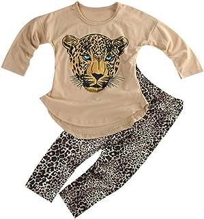 ggudd Niña Leopardo Impreso Manga Larga Tops y Polainas Pantalones Conjuntos de Trajes