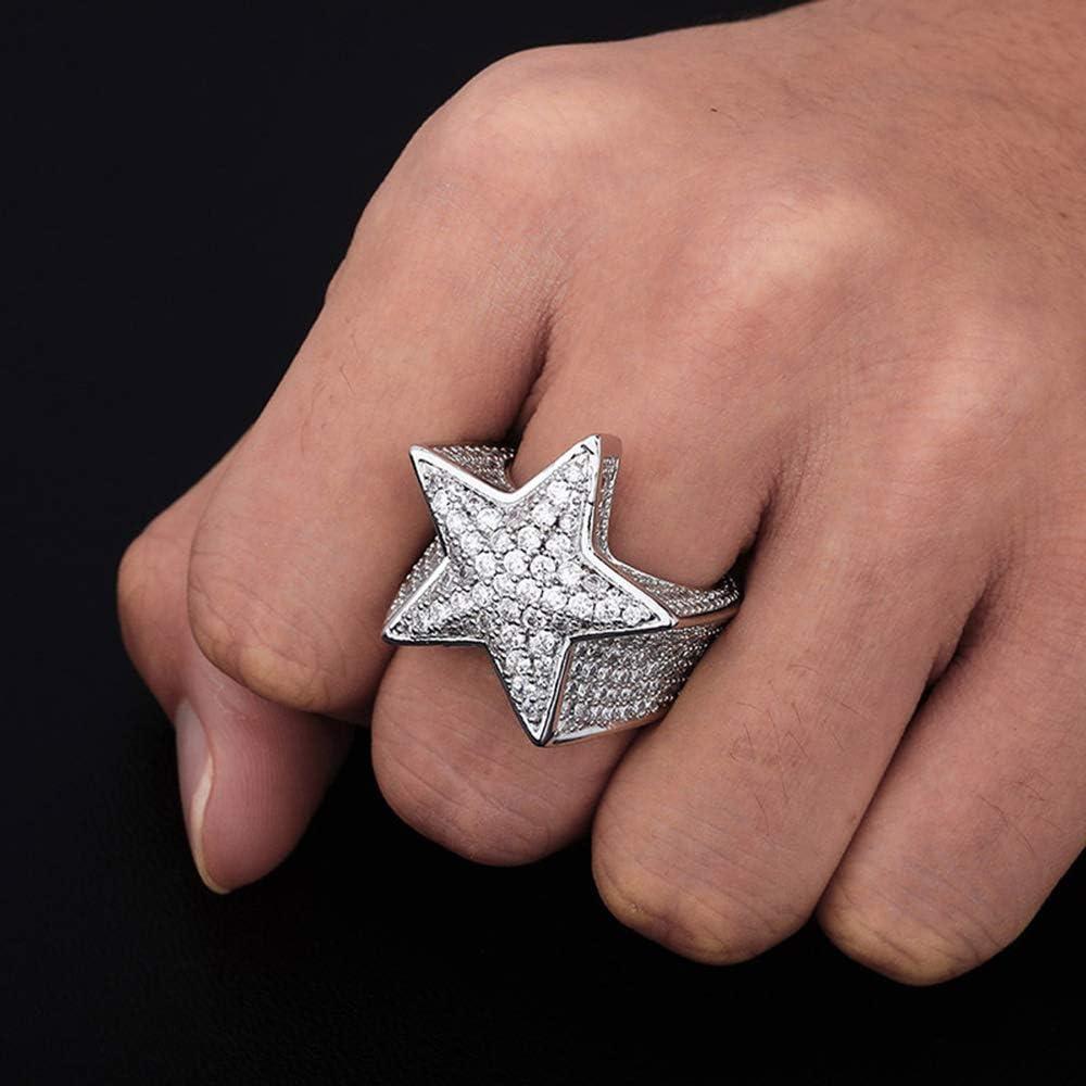 Iced Out Star Ring Hip Hop Ring 18 Karat vergoldet Zirkonia Bling Fashion Rapper Star Ring f/ür M/änner