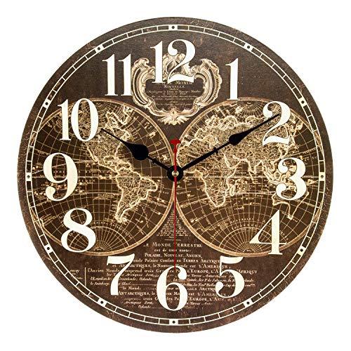 ufengke Reloj de Pared Madera Vintage Silencioso Reloj Quartz Rustico Mapa del Mundo Marrón Pare Salon Comedor 30cm