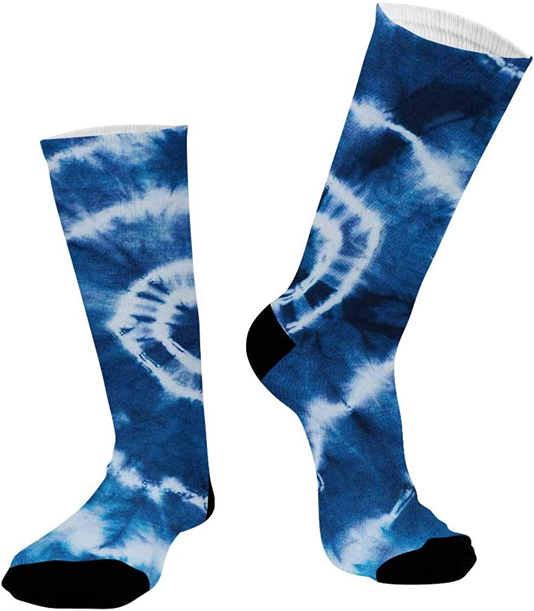 INTERESTPRINT Athletic Sublimated Crew Socks for Adults Indigo Tie Dye Pattern