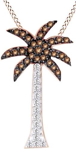 Rund Braun & Weißnatürlicher Diamant Palm Baum Anh er Halskette 14  massiv Rosa Gold (0,30 )