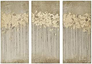 Midnight Forest Wall Art Hand Embellished Abstract Stretched 3 Piece Set Canvas Painting Living Room Décor Gold@A-2_40Cm×60Cm×3_