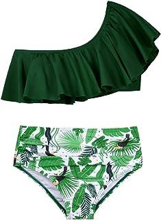 Hilor Girl's Bikini Set Crop Flounce Two Piece Swimsuits Kids Haler Bathing Suits