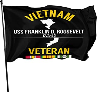 ShiHaiYunBai Jardín Banderas Decoración de Exterior, USS Franklin D Roosevelt CVA-42 at Wandering Outdoor Flag Home Garden Flag Banner Breeze Flag USA Flag Decorative Flag 3x5 Ft Flag