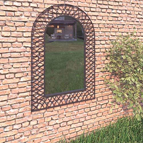 vidaXL Garden Wall Mirror Arched,Vintage Window pane Mirror, Decorative Arch Wall Mirror, -