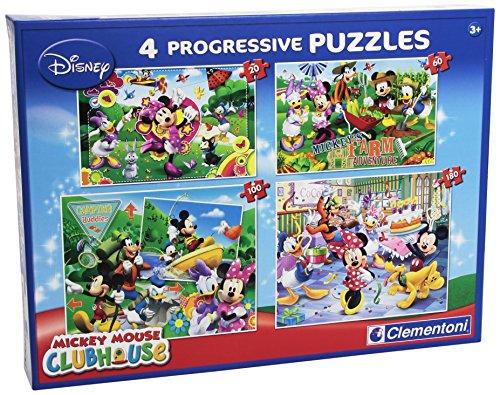 Clementoni 77045 - Puzzle Mickey Mouse Club House, 20 + 60 + 100 + 180 Pezzi