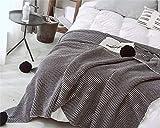 XMZFQ - Manta de Punto 100% algodón con pompón, Patrones geométricos, sofá Cama, Oficina, Supersuave, Manta de Punto, 130180 cm