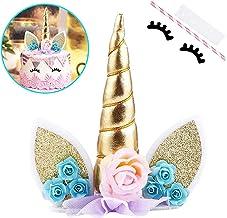 HASTHIP® Cake Toppers | Handmade Gold Unicorn Birthday Cake Topper | Reusable Unicorn Horn | Ears Eyelash Set | Unicorn Party Decoration Birthday Party, Baby Shower Wedding (5.8 Inch)