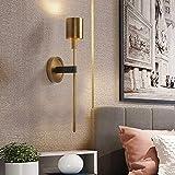 YANQING Durable Golden Copper wandlamp minimalistische Scandinavische moderne interieur woonkamer Den bed warm licht LED Villa 12 * 51cm