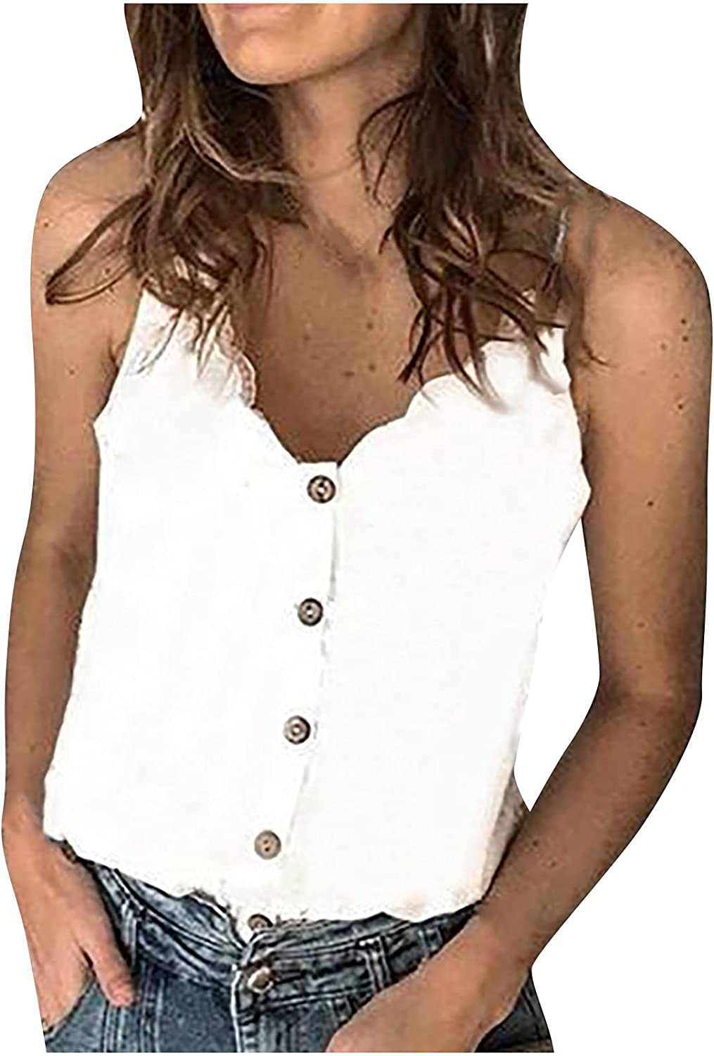 Women's Button Camisole Tank Top Scallop V Neck Spaghetti Strap Cami Tops Loose Casual Sleeveless Shirts Blouses