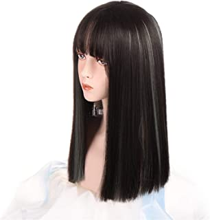 Hairpieces Synthetic Wig Lady Silver Gray Gradient Aqua Blue Medium Length Straight Hair Cosplay Wigs with Bangs Heat-resi...