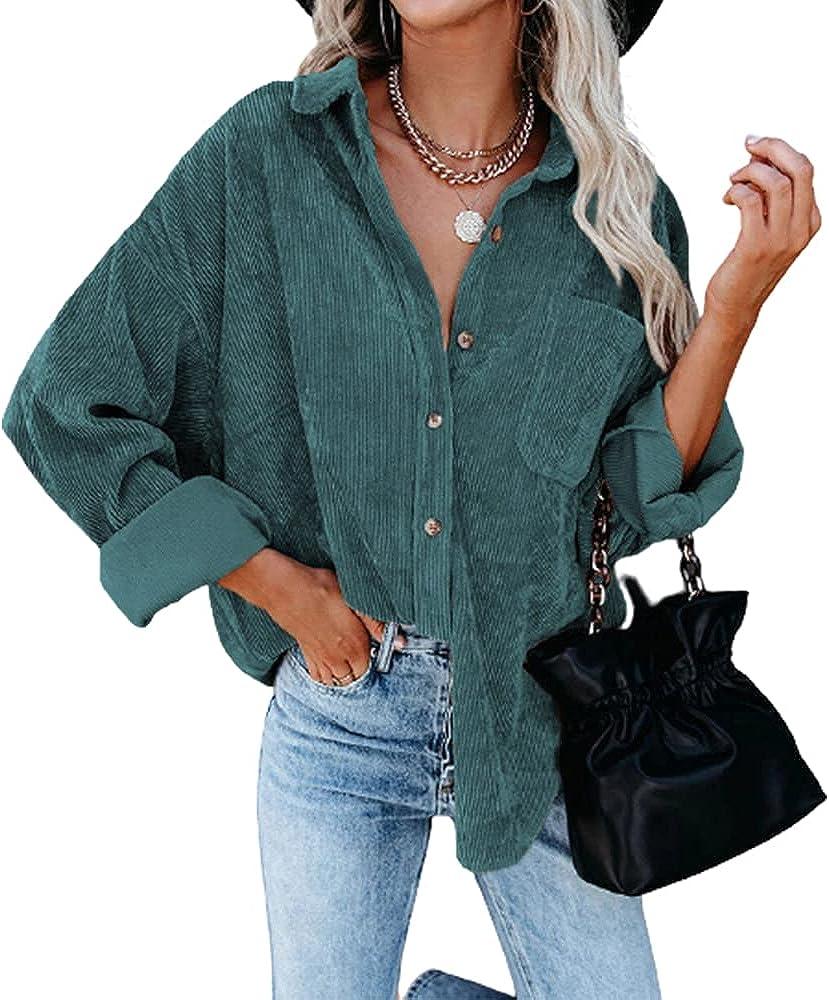 Women Corduroy Jacket Oversized Long Sleeve Button Down Corduroy Shirt Casual Boyfriend Blouses Tops