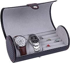 Matilda520 Portable Cylinder Watch Jewelry Storage Box-2 Slots Box Organizer (Color : Black)