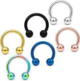 Yaalozei 6PCS-24PCS 14G Stainless Steel Horseshoe Nose Hoop Rings Eyebrow Cartilage Nipple Tongue Belly Earring Septum Ring Piercing Jewelry for Men Women 8-14mm