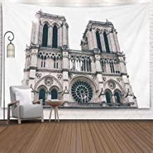 Shorping Halloween Tapestry, Snowman Tapestry 80X60Inches Winter Hanging Wall Tapestry for Décor Living Room France 20 May 2017 Black and White Notre Dame De Paris Ancient Catholic Cathedral on