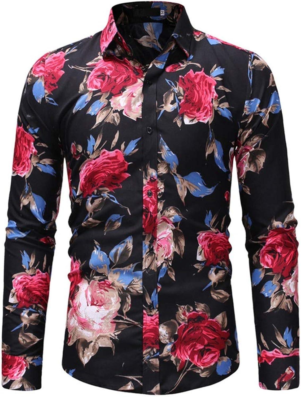 Men's Floral Printed Slim Slim Slim Fit Tops Lapel Collar Long