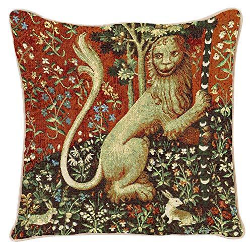 Signare Gobelin Arazzo copricuscini Divano, federe Cuscini Divano, Fodere Cuscini 45x45 cm Motivo The Lady And The Unicorn (Lion)