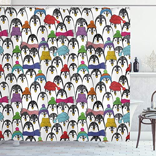 ABAKUHAUS Pinguin Duschvorhang, Winter-Cartoon-Tier, mit 12 Ringe Set Wasserdicht Stielvoll Modern Farbfest & Schimmel Resistent, 175x180 cm, Mehrfarbig