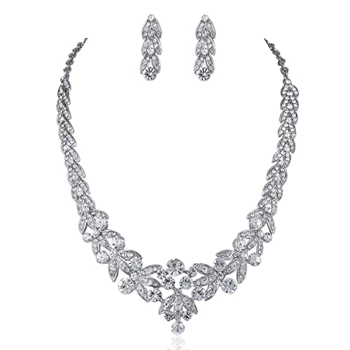 Fast Deliver White Floral Flower Design Clear Crystal Necklace Set Wedding Bridal Prom Bridal Jewelry