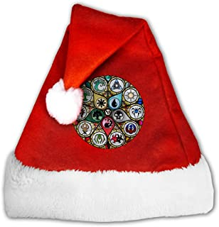 MTG Stained Glass Santa Hats- Christmas Costume Classic Hat -Christmas Hats for Women/Men/Kids/Adult