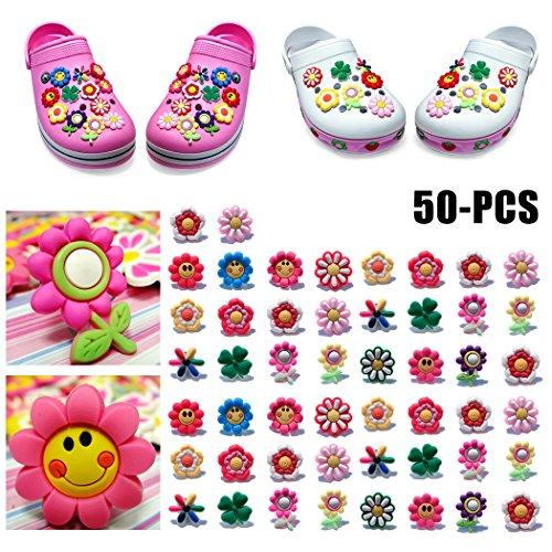 ZOYLINK 50 STÜCK Schuhe Charme Schuhanhänger für Crocs Schuhe Dekoration Charme Modische süße Blume Form PVC Schuhe Dekor (Farbe/Stil zufällig)…
