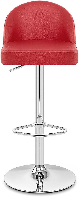 VuHom AUX Leather Crescent Bar Stool White Crescent Kitchen Stool (Red)