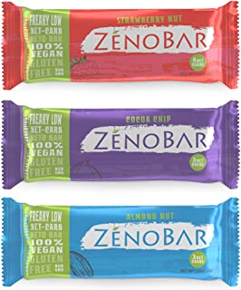 ZenoBar Keto Low Carb Energy Bar, 1.6 oz (Variety, 12-Pack): Vegan, Whole Foods, Low Glycemic, Perfect for Keto, Diabetic, and High Fat Diets