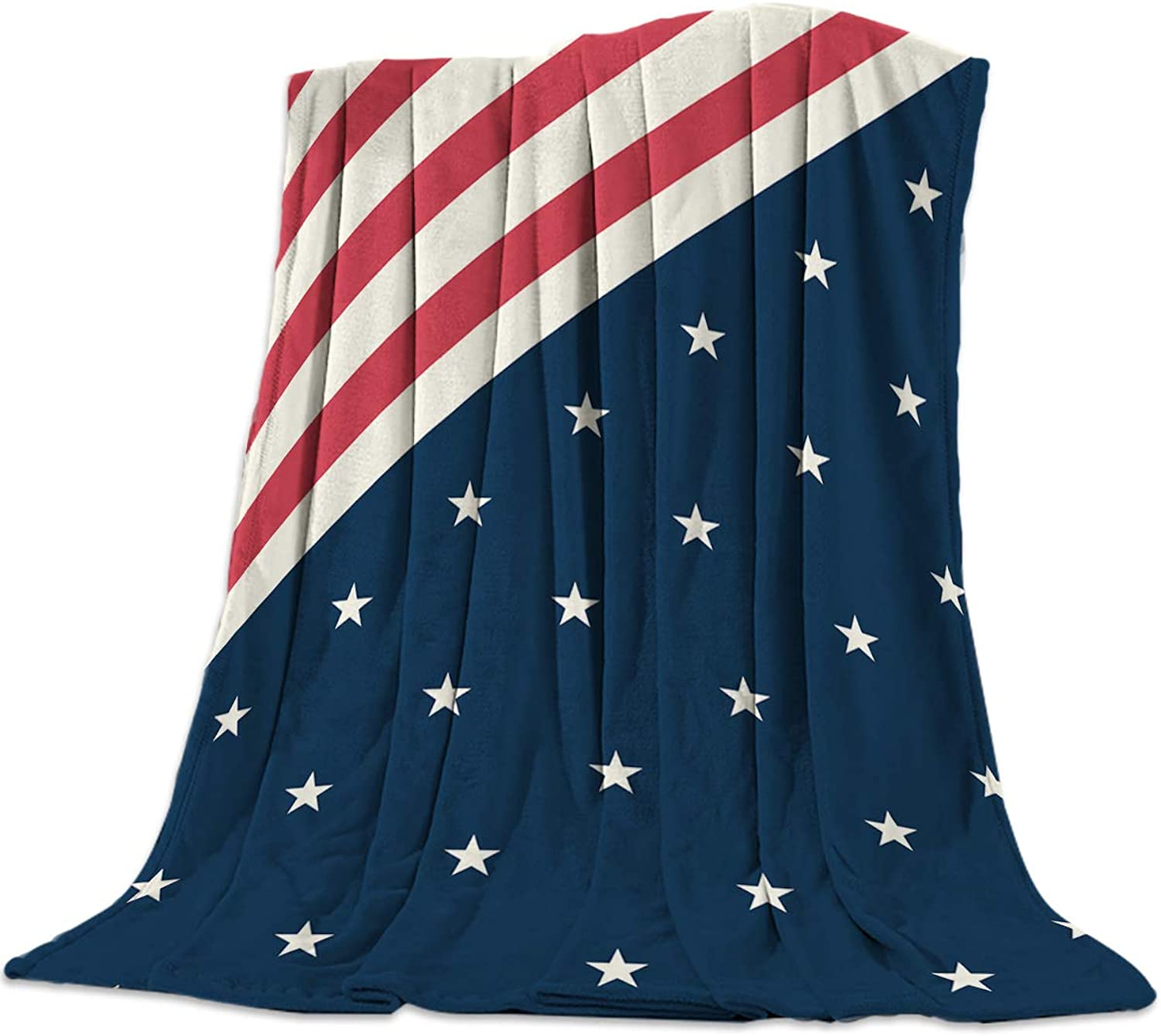 T&H Home Artistic Blanket, USA Flag Soft Flannel Fleece Bed Blacket for Couch, Throw Blanket for Cover Men Women Aults Kids Girls Boys 50 x60