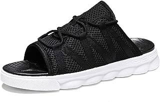 SHENLIJUAN Sandals for Men Casual Slipper Slip On Style Pool Slides Breathable Mesh Cloth Material Simple Pure Color Lace Decor (Color : Balck White, Size : 39 EU)