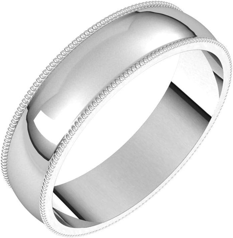 Diamond2Deal 10K Arlington Mall White 5 mm Milgrain Light Round Half Large-scale sale Ba Wedding