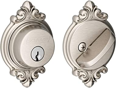 SCHLAGE B60 Brookshire Single Cylinder Deadbolt C Keyway with 12287 Latch 10116 Strike Satin Nickel Finish