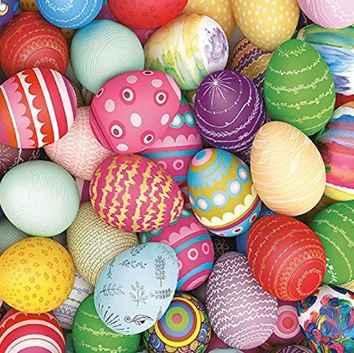 20 Servietten Ostereier in kunterbunten Farben als Tischdeko für den Frühling und Ostern 33x33cm