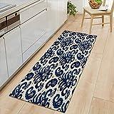 "Hgayfray Vintage Paisley Bath Mat Ikat Paisley Traditional Oriental Ethnic Indigo Cobalt Blue Kitchen Mat Bath Rugs Floor Mat Door Mat Microfiber Carpet for Bathroom Home 16""x48"""