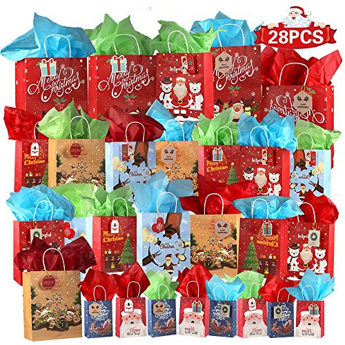 Vadeture 28 Christmas Bags Christmas Kraft Prints Bags Assorted Sizes, 4 Large, 16 Medium, 8 Small, with Tissue Papers and Tags for Xmas Bags, Classrooms Party Favors Decoration, Holiday Wrap Décor