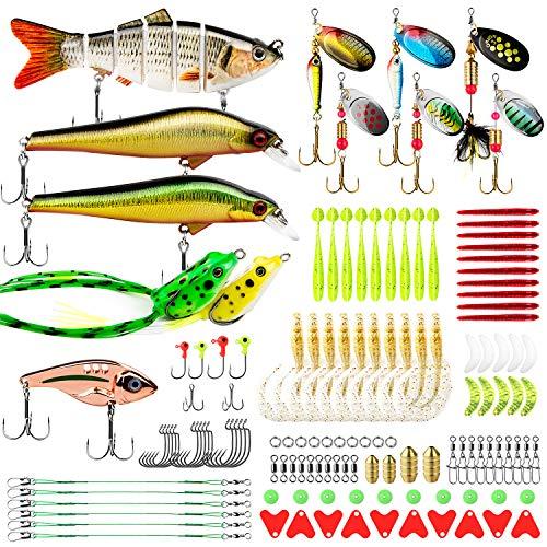 CharmYee Bass Trout Fishing Lures Kit Set 133Pcs Fishing Baits Tackle...