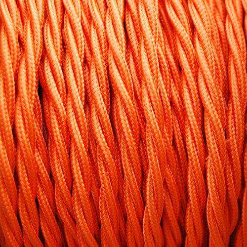 GUFAN Fils Electriques Torsadé Tissu Rétro /9 Couleurs Au Choix (Orange, 15M)