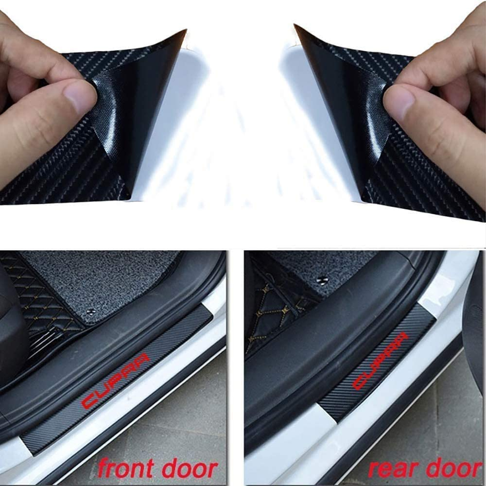 Easy Assembly Exterior Door Sill Protection Original Moldings Cover Pedal Protection Sticker Red,Red QMH Car Door Sills4 Pieces Car Door Sills Carbon Fiber For Seat Cupra 2010-2015