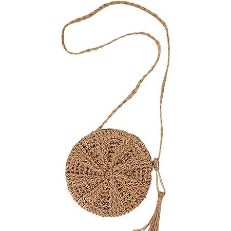 Faletony Sommer Runde Stroh Umhängetasche, Strandtasche Strohtasche Crossbody Strand Tasche für Damen Mädchen Frau, Khaki/Weiß (Khaki)