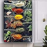 Alivio de la Cuchara de Chile de Especias de Cereales Calientes Imagen Mural Grande para la decoración de la Cocina Lienzo Pintura Cartel,Pintura sin Marco,60x90cm