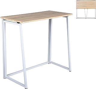 MEUBLE COSY Bureau en métal, bureau informatique, table de travail , PVC, structure en métal, 80x44x74cm , Chêne /80x44x74cm